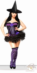 Black and Purple Corset Witch Costume with Hat, Skirt and Stockings