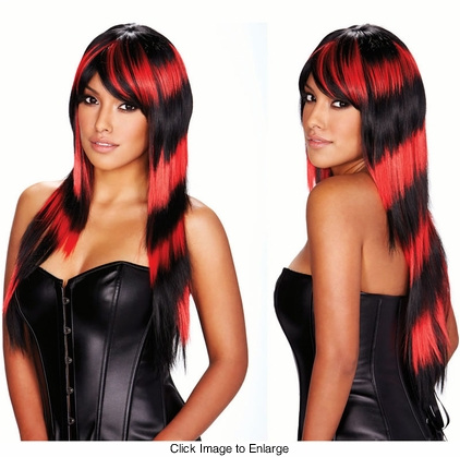 Black and Red Deluxe Long Wig