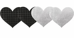 Black and White Heart Self Adhesive Pasties