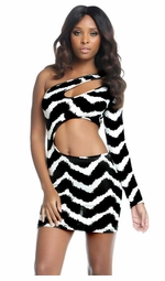 McKenzie Black and White Asymmetric Dress