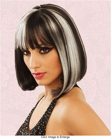 Black and White Bob Wig with Bangs Eclipse