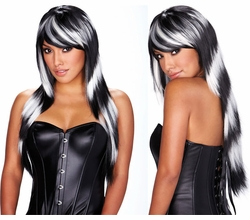 Black and White Deluxe Long Wig