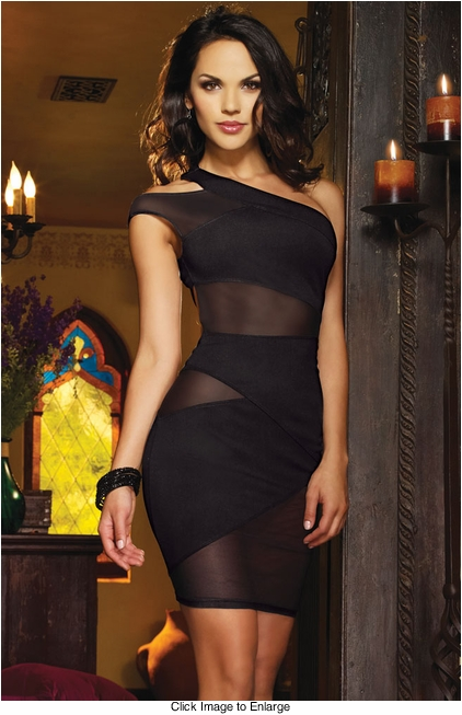 Black Asymmetric Mini Dress