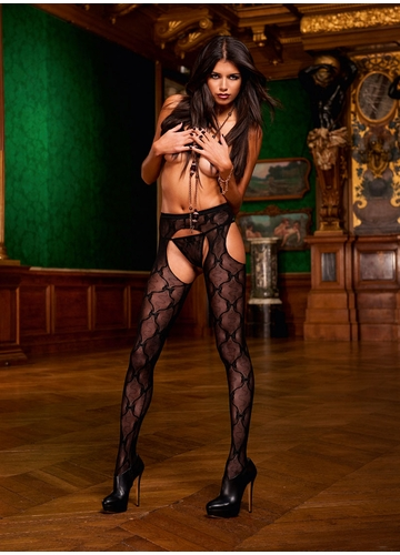 Black Bow Lace Suspender Pantyhose