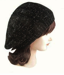 Black Cable Knit Beret Hat