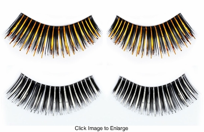 Black False Lashes with Silver or Gold