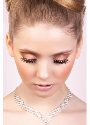Black False Eyelashes with Yellow Crystals