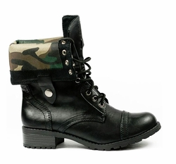 Black Fold Over Booties with Camouflage Lining