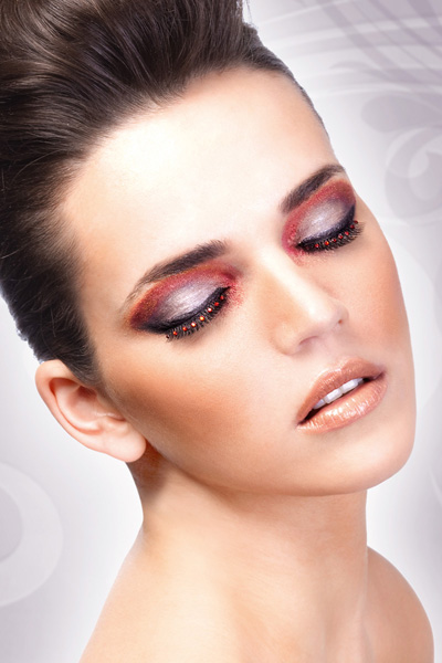 Black Glam Lashes with Red Crystal Eyeliner