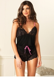 Black Jersey Knit and Lace Romper