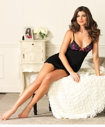 Black Jersey Knit Night Gown with Pink Cups