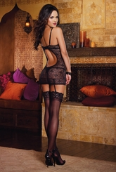 Black Lace and Pink Satin Garter Dress