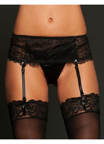 Black Lace Garter Skirt With Beads and Ribbon Accents