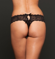 Black Lace Open Crotch Thong