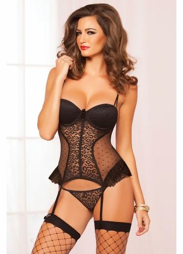 Black Leopard Lace Bustier and Thong