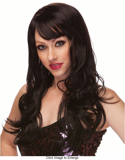 Black Long Curly Burlesque Wig