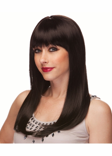 Black Long Straight Wig with Bangs Classy