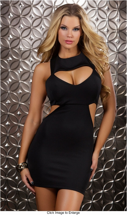 High Collar Black Mini Dress with Cutouts