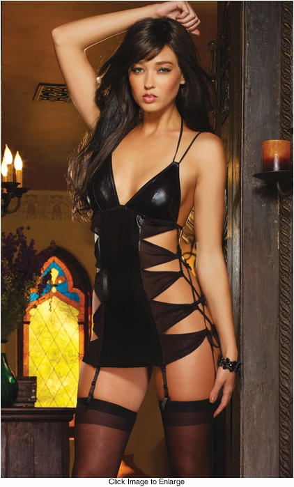 Black Mini Dress with Triangle Cutouts and Thong