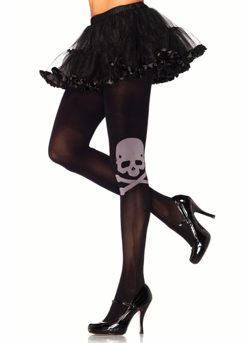 Black Pantyhose with Cutie Skull