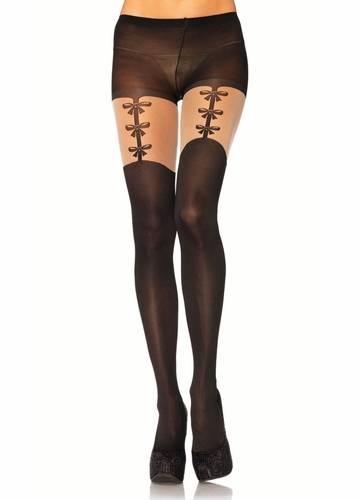 Black Pantyhose with Faux Bow Garters