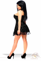 Black Plus Size Corset Dress with Lace Overlay