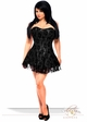 Black Plus Size Corset Dress with Lace Overlay inset 2