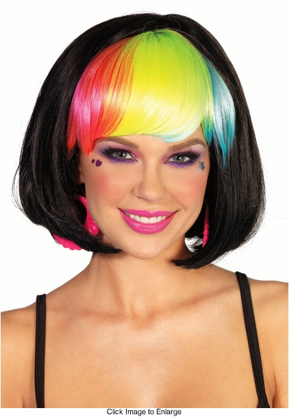 Black Rave Wig with Rainbow Bangs for $18.00