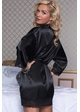 Black Satin Robe with Lace Trim inset 1