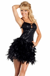Black Sequin and Feather Dress
