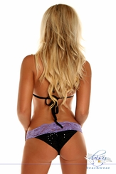 Black Sequin and Lace Pucker Back Bikini