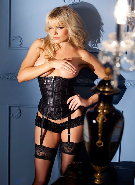 Black Sequin Waist Cincher Corset with Back Lacing