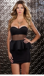 Black Strapless Peplum Mini Dress