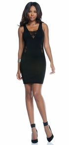 Black V-Neck Dress with Mesh Details