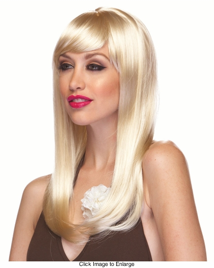 Blonde Long Straight Wig with Bangs Classy