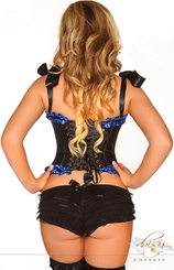 Blue and Black Steel Boned Tie-Strap Burlesque Corset