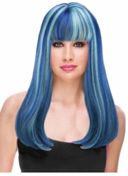 Blue and Light Blue Two Tone Glamour Wig for $29.99
