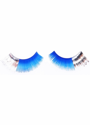 Blue False Lashes with Silver Corners
