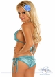 Blue Glitter Pucker Back Bikini with Rhinestones inset 1