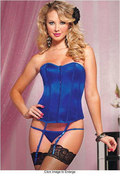 Blue Satin Corset with Zipper Front