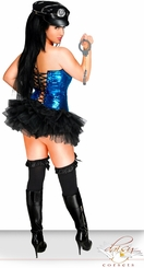 Blue Sequin Corset Pin-Up Cop Costume