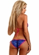Blue Sequin Pucker Back Bikini with Fuchsia Trim inset 1