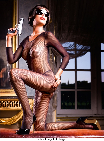 Bond Girl Fishnet Bodystocking with Long Sleeves