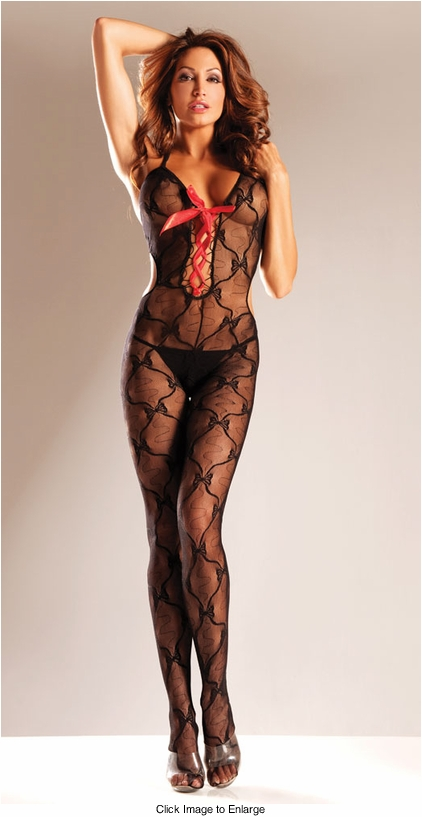 Bow Lace Bodystocking with Red Ribbon Lace-Up Front