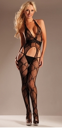 Bow Lace Halter Bodystocking with Open Back