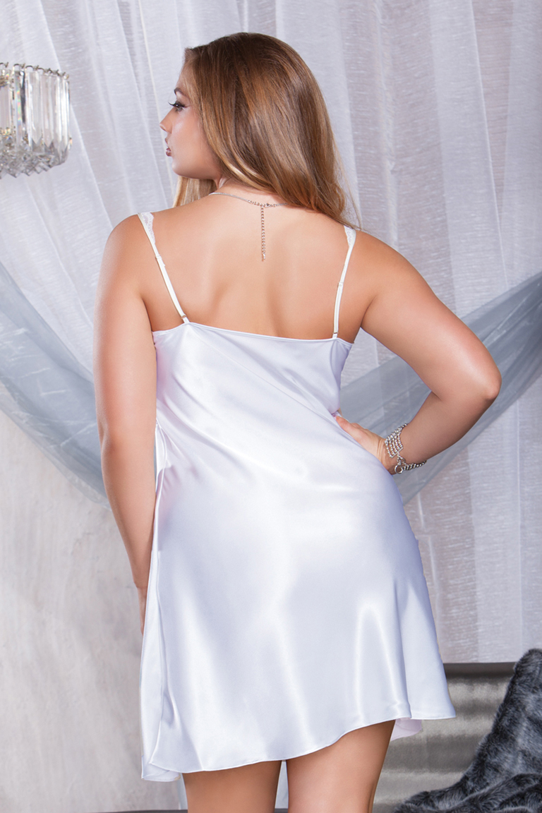 Vintage 1980s NOS off white satin and lace nightgown with