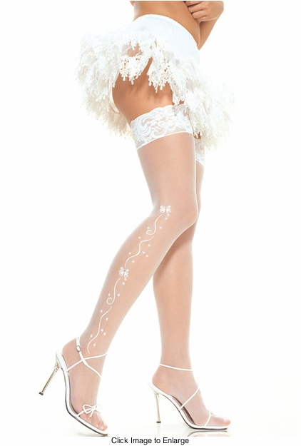 Bridal Sheer Thigh High Stockings with Flower and Crystal Design