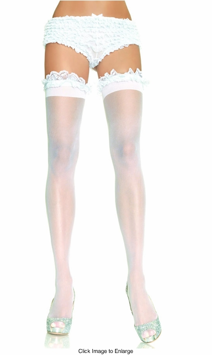 Bridal Sheer Thigh High Stockings with Garter Style Ruffle Top