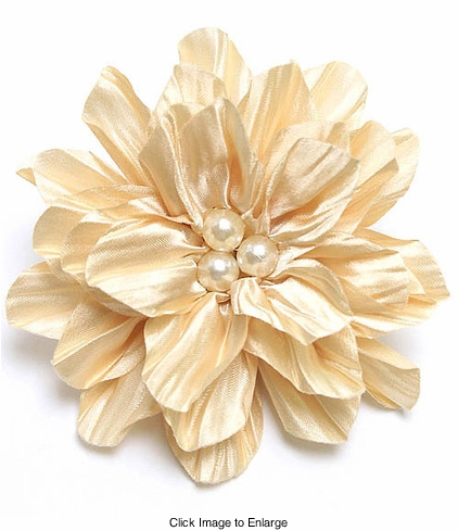"Bridesmaid 4.15"" Satin and Pearl Flower Hair Clip"