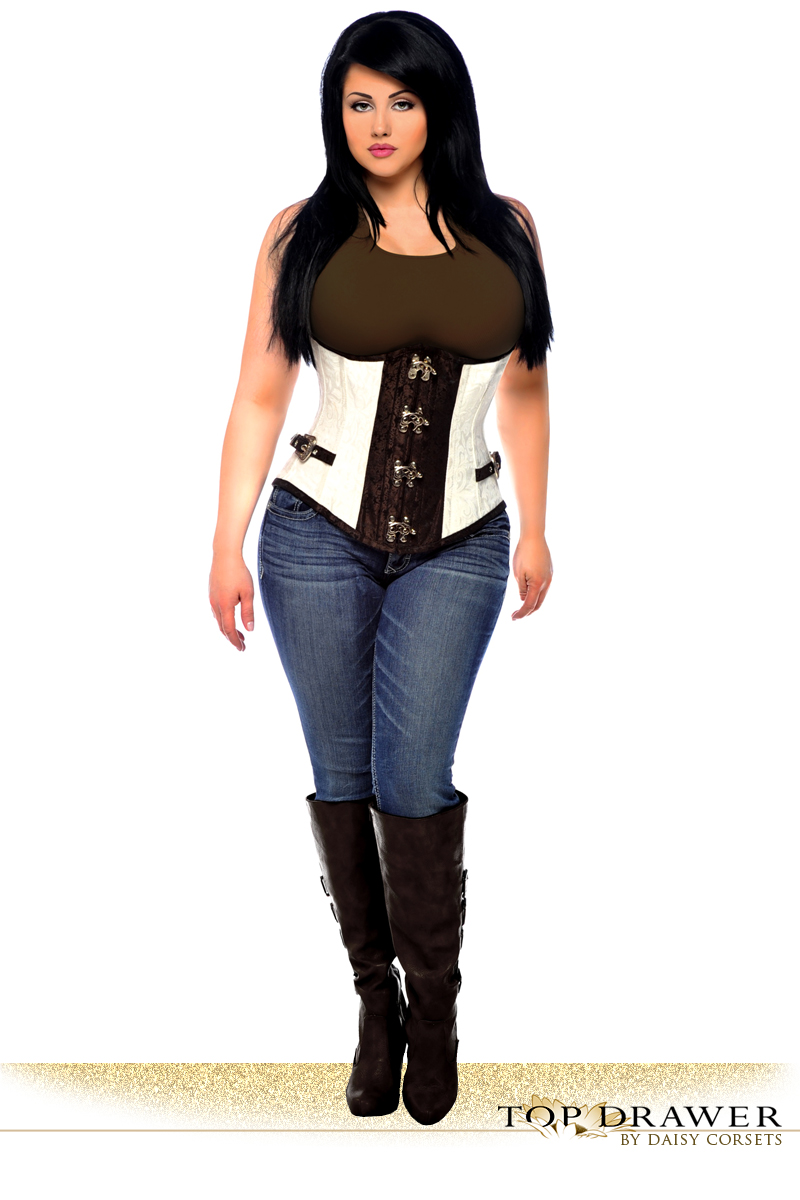 Brocade Steel Boned Underbust Corset Top with Buckles